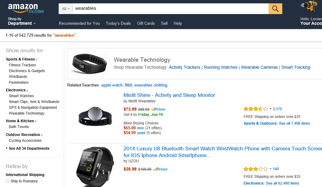 De explozia dispozitivelor purtabile a beneficiat si amazon.com